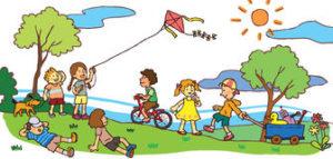 children-having-good-time-summer-landscape-v-sunny-create-vector-33475972